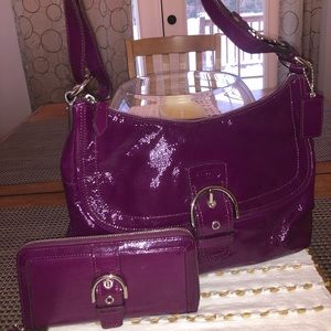 Coach soho patent leather purse and wallet combo